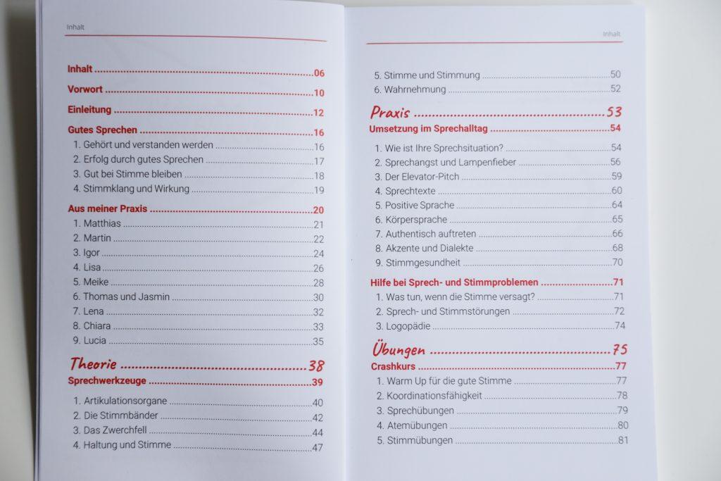 Inhaltsverzeichnis Erfolgsgeheimnis gutes Sprechen
